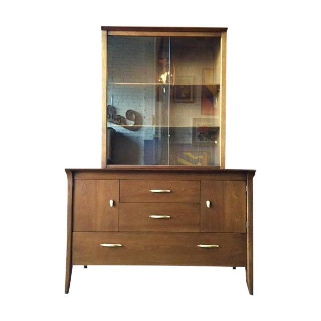 mcm drexel two piece credenza john van koert chairish. Black Bedroom Furniture Sets. Home Design Ideas