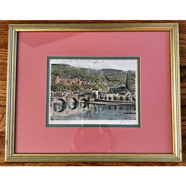 Green Signed European Hand Tinted Print For Sale - Image 8 of 8