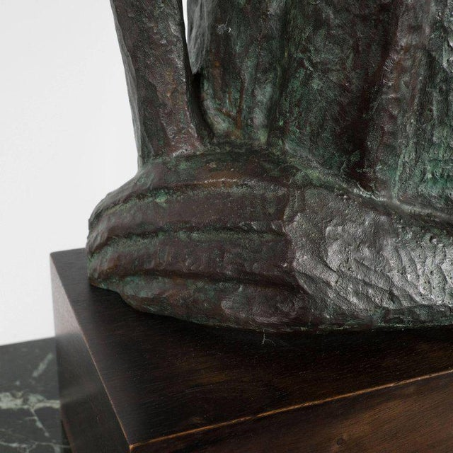Bronze Signed Mid Century Modern Large Scale Patinated Bronze Sculpture For Sale - Image 7 of 10