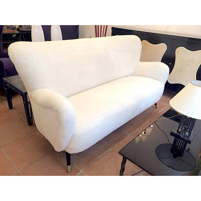 Set of One Couch and Two Chairs in Wool Faux Fur For Sale - Image 6 of 7