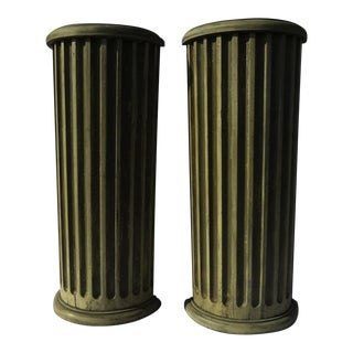 19th Century Tall Narrow Pedestals from Classical Fluted Architectural Painted Columns - a Pair For Sale