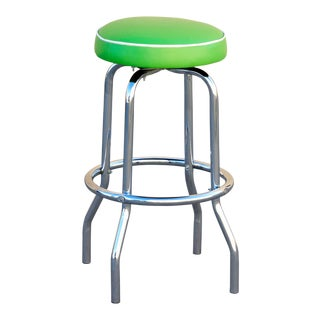 1950s Chrome Diner Stool With Lime Green Seat, Free u.s. Shipping For Sale