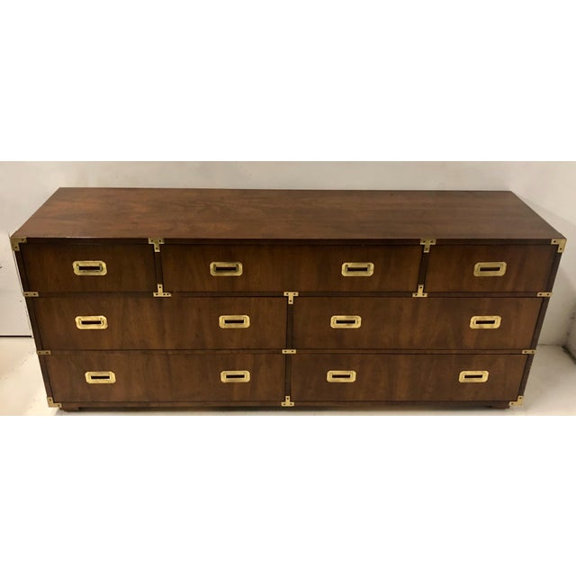 Campaign Henredon Campaign Style Chest of Drawers / Credenza For Sale - Image 3 of 7