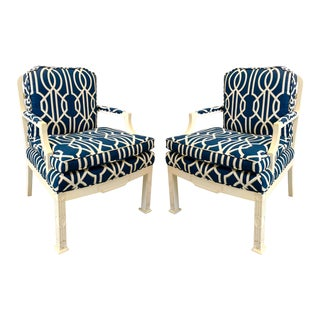Erwin Lambeth Chinese Chippendale Style Chairs - A Pair