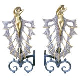 Image of French Art Deco Style Nude Figural Female Andirons - A Pair For Sale