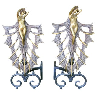 French Art Deco Style Nude Figural Female Andirons - A Pair For Sale