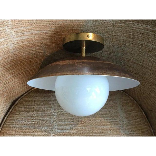 Sasco Brass and Glass Globe Semi-Flush Mount Pendant Light For Sale - Image 9 of 9