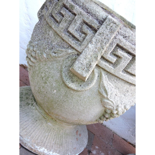 Vintage Greek Style Concrete Garden Planters, Pots or Urns - a Pair For Sale - Image 4 of 7