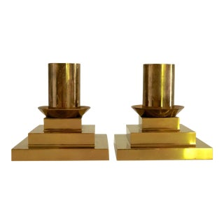 Vintage Mid-Century Modern Deco Brass Candlesticks Candle Holders - a Pair For Sale