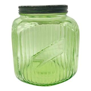 Uranium Vaseline Depression Glass Lidded Canister Cookie Jar