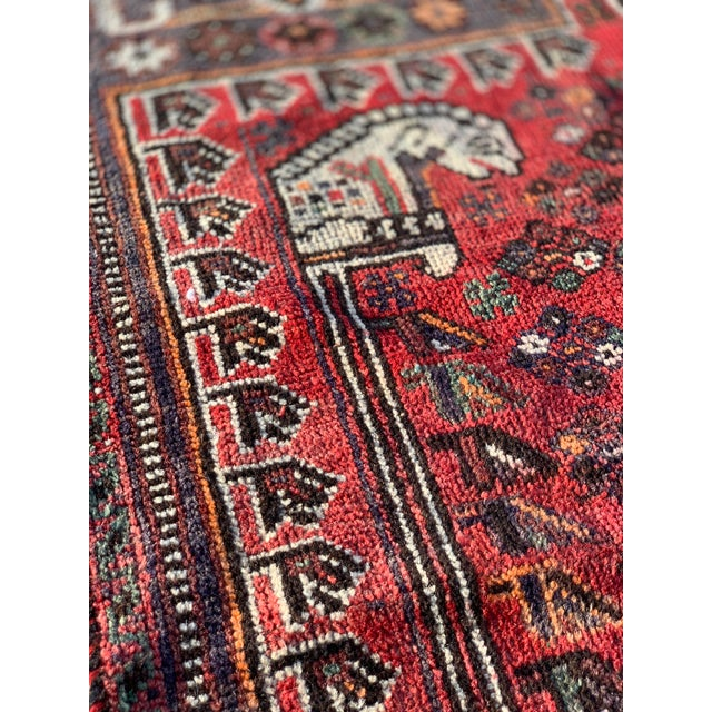Red 1940s Vintage Persian Qasghi Rug - 5′1″ × 7′10″ For Sale - Image 8 of 13