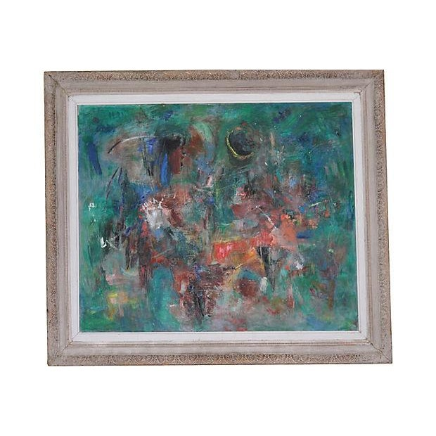 Framed Vintage Abstract Oil Painting - Image 1 of 6