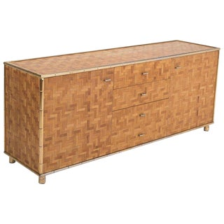Hollywood Regency Sideboard in Rattan and Bamboo, 1970s For Sale