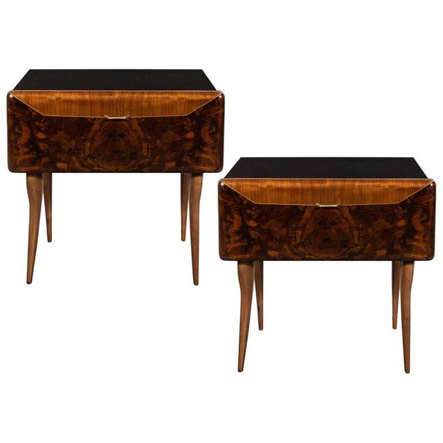 Pair of Mid-Century Italian Nightstands/End Tables in Exotic Bookmatched Wood For Sale - Image 12 of 12