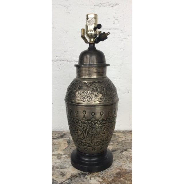 Boho Chic Vintage Hammered Tin Moroccan Table Lamp For Sale - Image 3 of 3
