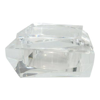 Prismatic Mid Century Modern Italian Clear Lucite Box With Lid by Tms For Sale