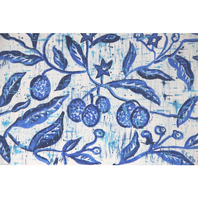 The branches of a plum tree in a garden, perhaps,in blue, inspired by Chinese paintings, in indigo, cobalt blue, pale sky...