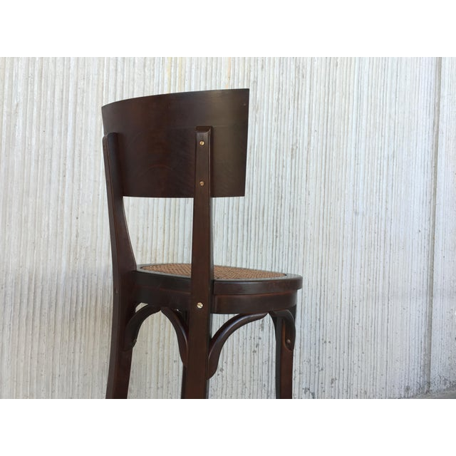 Brown Set of Six Caned Seat and Wood Back Bar Stools For Sale - Image 8 of 13