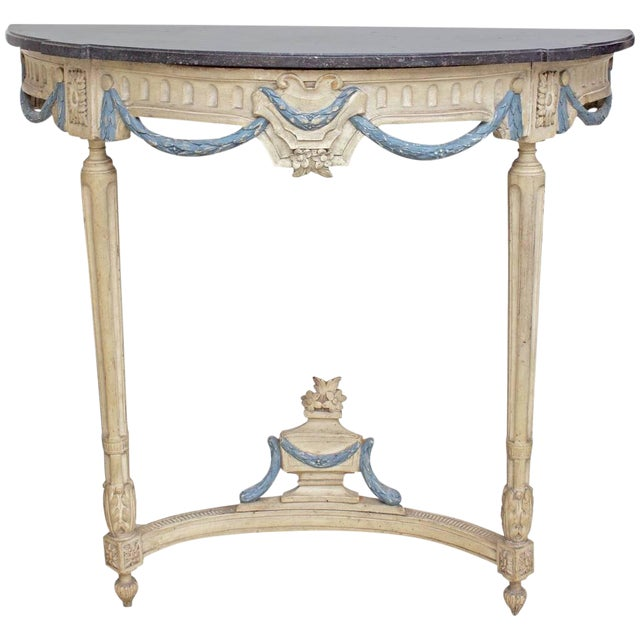17th Century Antique French Louis XIV Period Demilune Console Table For Sale