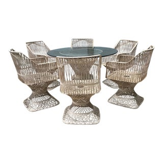 Russell Woodard Mid Century Modern 1960s Spun Fiberglass Patio Set - Set of 7 For Sale