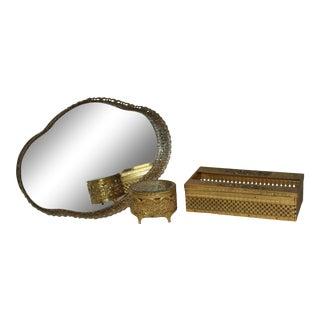 Vintage 1950s Gold Filigree Vanity Set - 3 Pieces For Sale