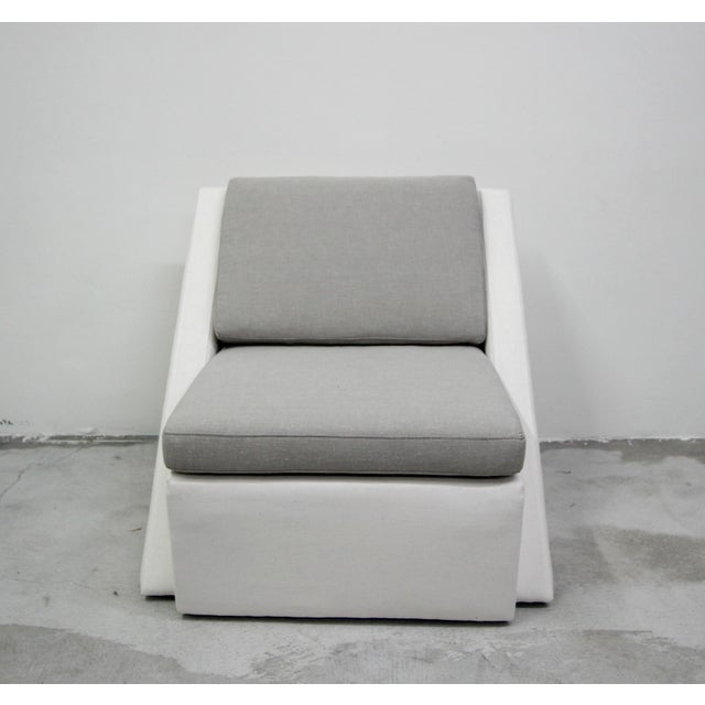 Post Modern Geometric Sofa and Chair With Ottoman Set by Thayer Coggin For Sale - Image 9 of 13