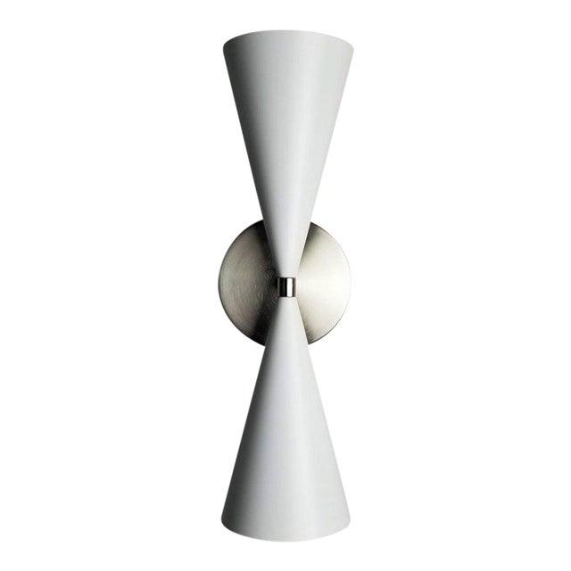 Modern Satin Nickel + White Enamel 'Tuxedo' Wall Sconce by Blueprint Lighting Nyc For Sale