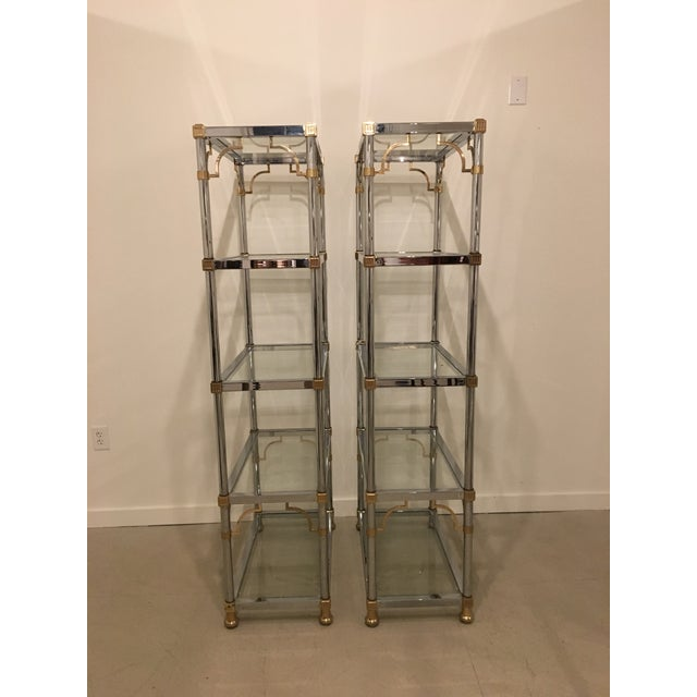 Mid-Century Modern Pair of Brass and Chrome Etageres For Sale - Image 3 of 11