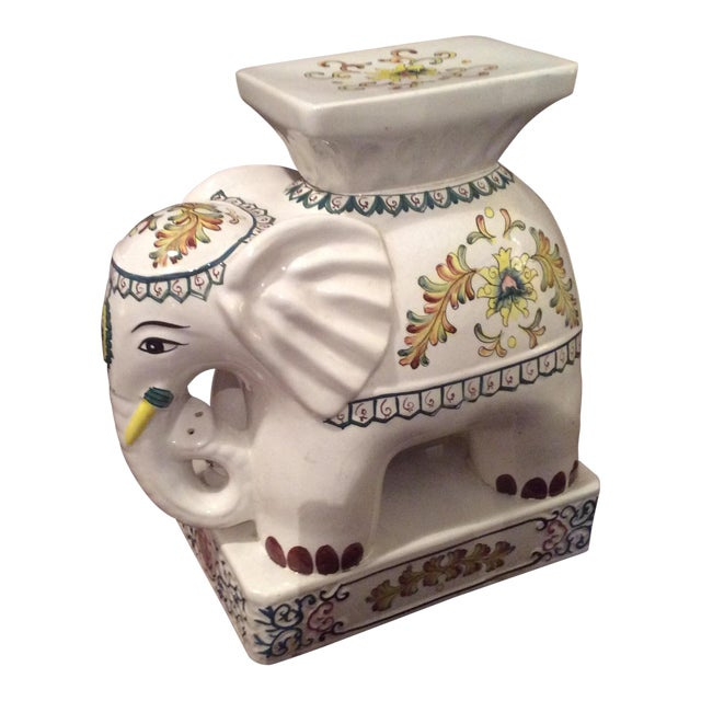 1970s Vintage Ceramic Elephant Garden Stool For Sale