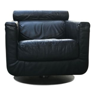Danish Modern Black Leather Swivel Club Chair For Sale