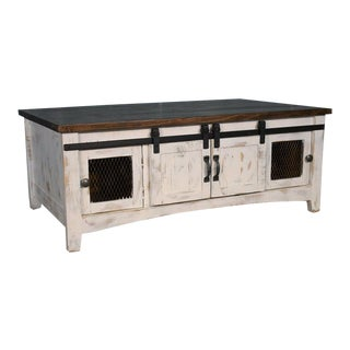 Crafters and Weavers Greenview Sliding Door Coffee Table - Distressed White For Sale
