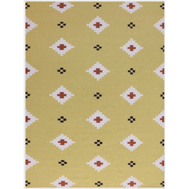 Zara Southwestern Yellow Flat-Weave Rug 3'x5' For Sale - Image 4 of 4