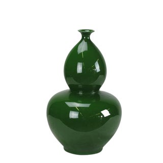 Asian Modern Green Bottle Gourd Porcelain Vase For Sale