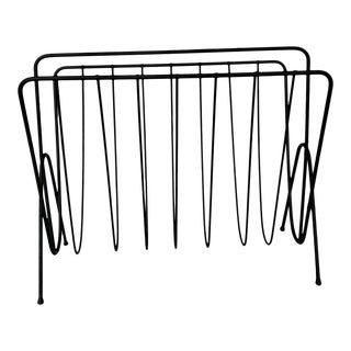 1960s Vintage Black Wire Magazine Rack For Sale