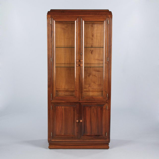 1930s Art Deco Walnut Vitrine/Display Cabinet For Sale - Image 13 of 13