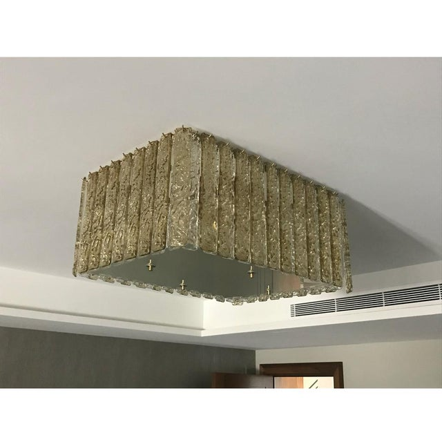 Contemporary Contemporary Art Deco Style Italian Amber Crystal Murano Glass Flush Chandelier For Sale - Image 3 of 11