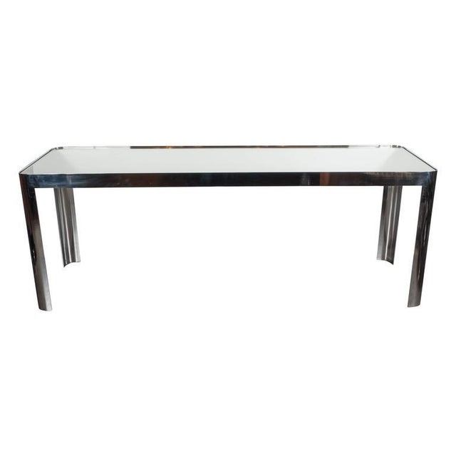 Chrome Mid-Century Modernist Console Table in Seamless Polished Chrome & Mirror by Pace For Sale - Image 7 of 7