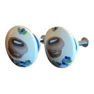 Nantucket Basket Hand Painted Decoupage Knobs - a Pair For Sale