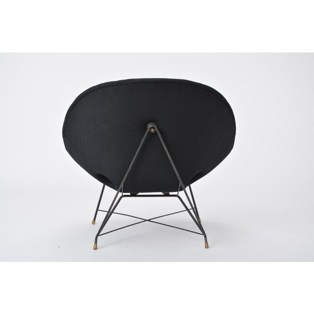 Brass Black Italian Cosmos Lounge Chair by Augusto Bozzi for Saporiti For Sale - Image 7 of 11