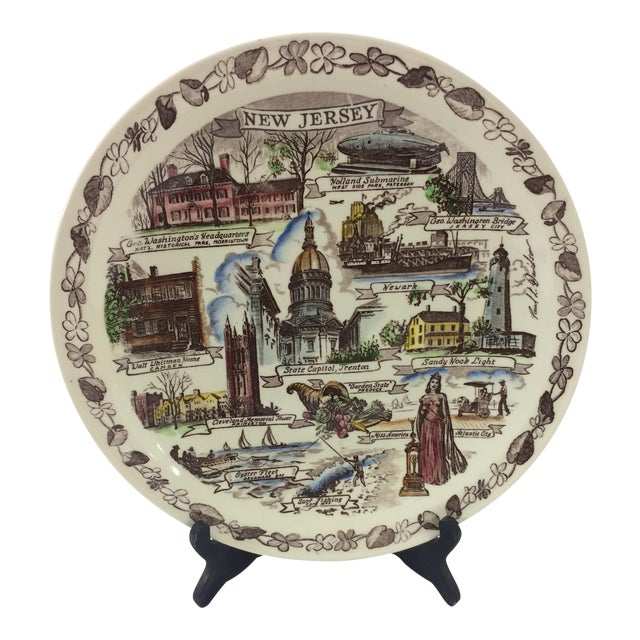 Vintage New Jersey Souvenir Plate For Sale