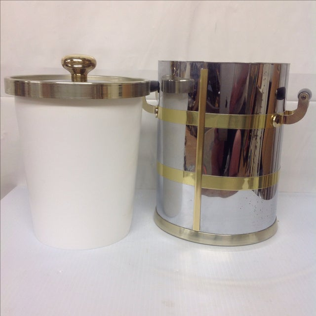 Mid-Century Chrome & Brass Ice Bucket For Sale In Dallas - Image 6 of 6