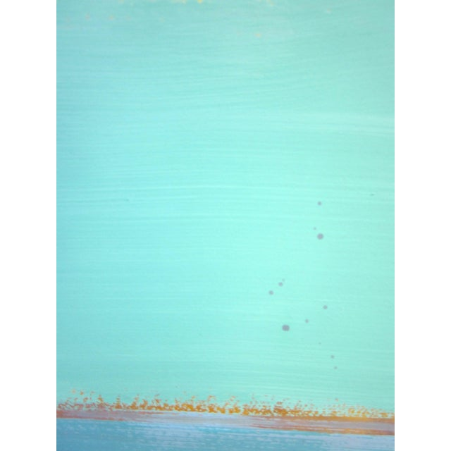 1980s 1980s Vintage Four Panel Abstract Geometric Seaside Pastel Horizontal Line Paintings - Set of 2 For Sale - Image 5 of 12