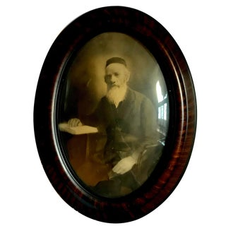 19th Century Rabbi Oval Convex Glass Framed Photo For Sale