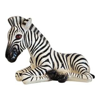 Vintage Italian Pottery Zebra Sculpture For Sale