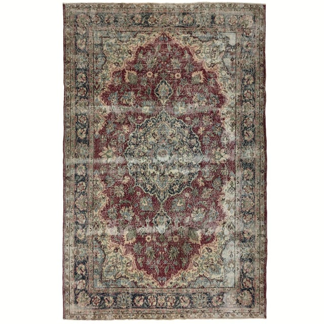 Mid 20th Century Distressed Turkish Carpet   7'1 X 10'8 For Sale - Image 5 of 6