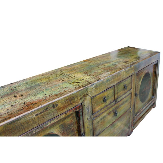 Wood Chinese Distressed Green Brown Oriental Flower Graphic Tv Console Cabinet For Sale - Image 7 of 10