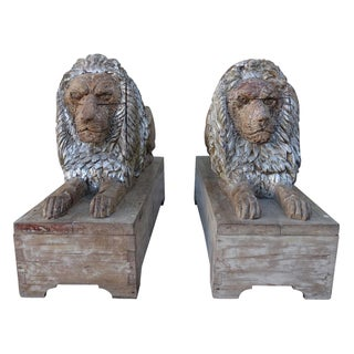 Italian 19th-Century Carved Lions on Bases - A Pair