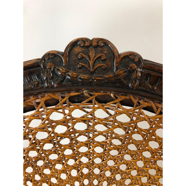 Traditional Caned Cameo Back Armchair With Leather Seat For Sale - Image 3 of 12