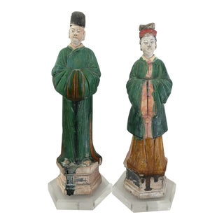 15th Century Chinese Ming Enamel Figures - a Pair
