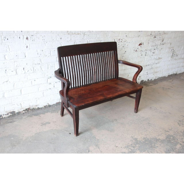 Mission Antique Mahogany Banker's Bench by Milwaukee Chair Company, Circa  1900 For Sale - Image - Antique Mahogany Banker's Bench By Milwaukee Chair Company, Circa